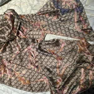 New real gucci GG floral print silk scarf